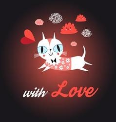 Funny portrait of love with a cat vector