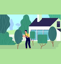 gardener at work backyard garden worker vector image