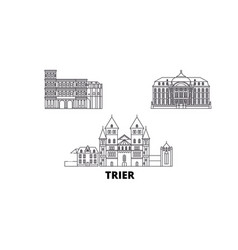 Germany trier line travel skyline set germany vector