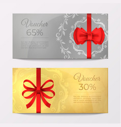 gift luxury certificate voucher card red ribbon vector image