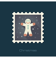 Gingerbread man Christmas flat stamp vector image