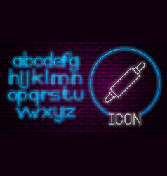 Glowing neon line rolling pin icon isolated vector