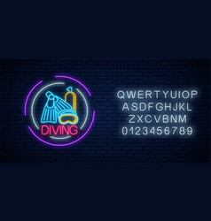 glowing neon sign diving beach club with vector image