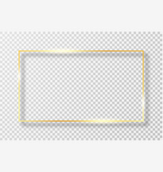 golden frame in rectangle shape with light effect vector image