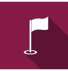 Golf flag flat icon with long shadow vector image