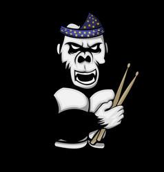 Gorilla drummer vector