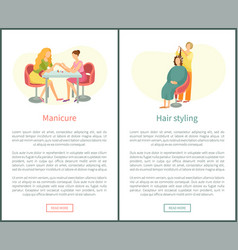 Hair styling and manicure treatment nail polishing vector