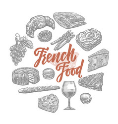 Hand drawn french food elements set vector