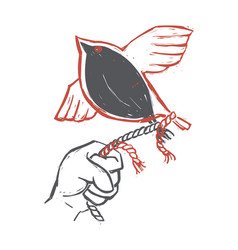 Hand holding rope with bird flying away vector