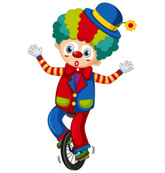 Happy clown riding on cycle on white background vector