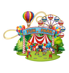 happy clowns in the funpark vector image