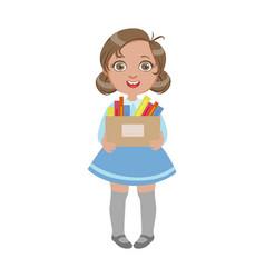 Happy sweet little schoolgirl carrying box vector