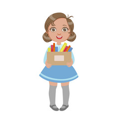 Happy sweet little schoolgirl carrying box with vector