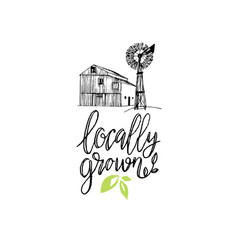 Healthy farm locally grown vector