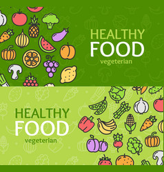 healthy foods eco shop banner horizontal set vector image