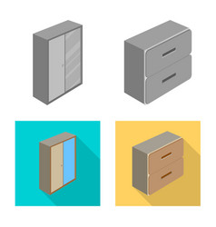Isolated object of bedroom and room icon set of vector