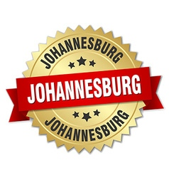 Johannesburg round golden badge with red ribbon vector