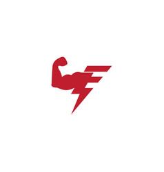 letter e strong arm bolt geometric logo vector image