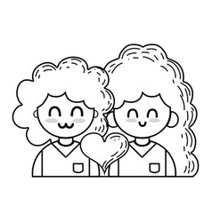 line couple with beauty relation ships and heart vector image
