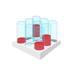Medical test tubes with blood in holder icon vector image