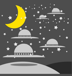 Metal and silver vintage ufo isolated on white vector