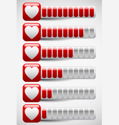 Meters with heart shapes love meter health points vector