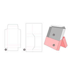 Middle opening packaging box and insert die cut vector
