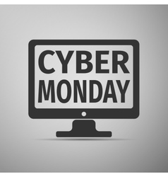 Monitor with Cyber Monday on screen flat icon over vector image