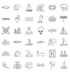 ocean icons set outline style vector image