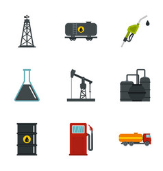 oil and gas industry icons set flat style vector image