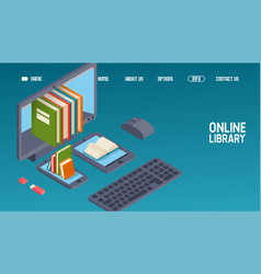 online library website design read books on vector image
