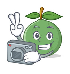 Photographer guava mascot cartoon style vector