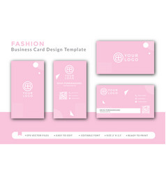 Pink business card concept design for fashion vector