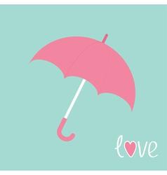 Pink umbrella Love card vector
