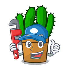 Plumber the beautiful spurge cactus plant cartoon vector