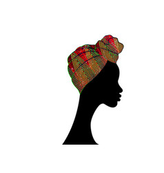Portrait beautiful afro woman in ankara turban vector