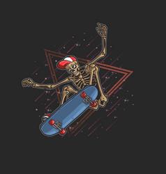 Pro skater skeleton jumping freestyle vector