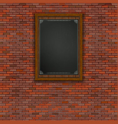 Realistic brick wall wooden frame vector