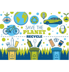 Recycle symbol and eco green earth planet vector