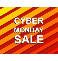 Red striped sale poster with CYBER MONDAY SALE vector