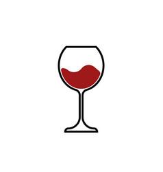 red wine glass icon wineglass logo glassware vector image