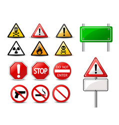 road signs and triangular warning hazard signs vector image