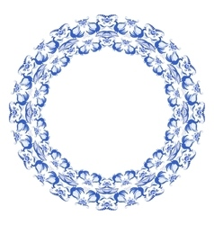 Round frame with light blue pattern of flowers and vector