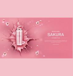 Sakura cosmetics bottle mock up background beauty vector