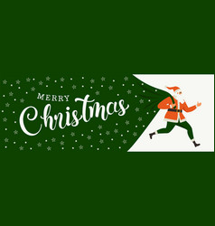 santa claus with a huge bag on run to delivery vector image