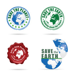 save planet earth sign set vector image