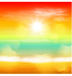 sea sunset with the sun and light on lens vector image