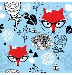 Seamless frozen pattern with winter fox and roses vector