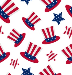 Seamless pattern with Uncle Sams top hat and stars vector