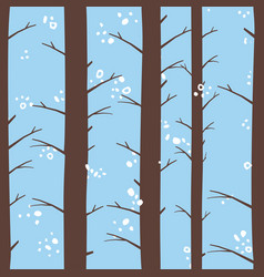 seamless winter forest morning pattern vector image